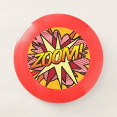 Shop ZOOM Fun Retro Comic Book Pop Art Wham-O Frisbee created by ComicBookPop. Superhero Pop Art, Pop Art Party, Personalised Gifts Unique, Vintage Theme, Wedding With Kids, Fun Comics, Book Gifts, Comic Books Art, Retro