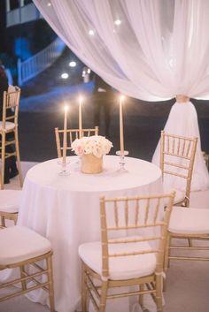 Wedding Reception at Debordieu Club by The Social Spool - #whitewedding #goldwedding #polecovers #weddingreception #tentedreception