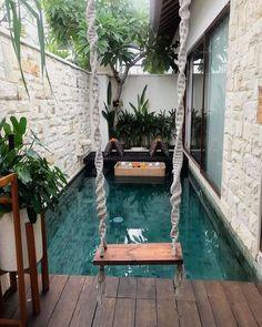"Interior Design & Decor on Instagram: ""Outdoor Space in Bali 📸 @ayuchfebriyant  #garden #terrace #patio #swimmingpool #architecture #design #swing #exotic #vacation #vacay"" Small Swimming Pools, Small Pools, Swimming Pools Backyard, Swimming Pool Designs, Lap Pools, Indoor Pools, Pool Decks, Pool Landscaping, Backyard Pool Designs"