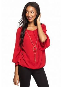 New Directions  Bubble Hem Blouse with Necklace
