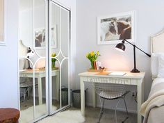 i love this!! Mirror door makeover using Overlays