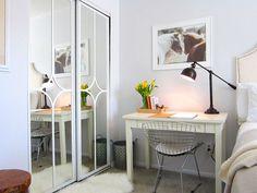 i love this!! Mirror door makeover using Overlays