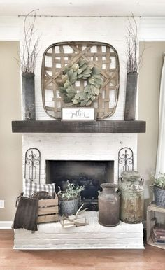 Country Home Decor Painted white brick fireplace. Tobacco basket over fireplace.Country Home Decor Painted white brick fireplace. Tobacco basket over fireplace. Modern Farmhouse Decor, Farmhouse Furniture, Furniture Decor, Farmhouse Style, Modern Rustic, Industrial Farmhouse, Farmhouse Ideas, Cottage Style, Vintage Farmhouse