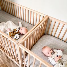 Naptime X 2. 😴😴 📸: @sarahjoytunes Triplets Nursery, Nursery Crib, Baby Nursery Decor, Project Nursery, Nursery Ideas, Best Baby Cribs, Bassinet, Baby Gifts, Toddler Bed
