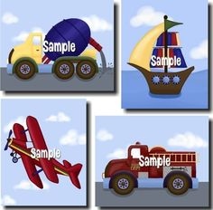 Set of 4 Boys Bedroom Transportation ART PRINTS - Cement Mixer, Airplane, Firetruck, and Boat. $20.00, via Etsy.