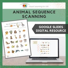 This digitally interactive resource is designed for use with Google Slides. This resource contains 20 slides in total. Answer sheets are included.The student must find all the animals in the sequence that they appears at the top of the page, and drag the red circles to mark the correct answers.