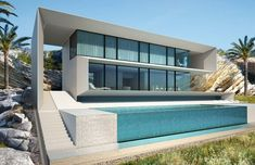 Design Concept for House in Ibiza, Spain by Alexander Zhidkov Architect Minimalist Architecture, Modern Architecture, Dream Home Design, House Design, Ocean Front Homes, Modern Villa Design, Luxury Homes Dream Houses, Small Buildings, Best House Plans
