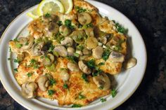 Skillet Lemon Chicken With Mushrooms This easy-to-cook chicken recipe is made with boneless chicken breasts, mushrooms, Marsala or dry white wine, lemon juice and other ingredients. Veal Recipes, Chicken Skillet Recipes, Chicken Meals, Dinner Recipes, Easy Skillet Dinner, Skillet Dinners, Veal Scallopini, Beef And Potatoes, Boneless Chicken Breast