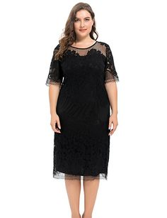 f4d278e5598 Chicwe Women s Plus Size Lined Floral Lace Dress - Knee Length Casual Party  Cocktail Dress at Women s Clothing store