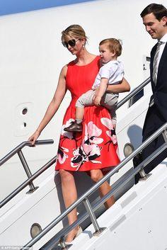 Ivanka Trump wearing Ivanka Trump Printed Border Scuba Dress in Strawberry/peony
