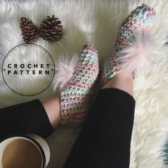 """*THIS LISTING IS FOR A DIGITAL CROCHET PATTERN ONLY* Sorry, NO REFUNDS on digital items! """"All you need is faith, trust, and a little pixie dust!"""" This magical and cozy slipper is a great base pattern that you could really do so much with! Our fave adornment is a small faux fur pom pom, but you could Faux Fur Pom Pom, True North, One Design, Crochet Hooks, Knits, Pixie, Trust, Crochet Patterns, Slippers"""