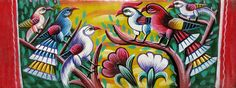 Birds painted on a tin plate, back of a rickshaw in Bangladesh.