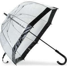 FULTON Birdcage umbrella ($27) ❤ liked on Polyvore featuring accessories, umbrellas, umbrella, black, fulton, fulton umbrella, transparent umbrella, black umbrella and see through umbrella