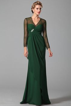 Long Sleeves Mother of the Bride Dress With V Neck - Website Mob Dresses, Ball Gown Dresses, Evening Dresses, Formal Dresses, Mother Of The Bride Gown, Mother Of Groom Dresses, Dress Websites, Silk Chiffon Fabric, Bride Gowns