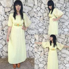 Vintage 70s Handmade Yellow Sheer Linen Bohemian Folk Angel Sleeves Empire Waist Flowy Peasant Dress M $75.00 https://www.etsy.com/listing/241337408/vintage-70s-handmade-yellow-sheer-linen