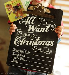DIY Permanent Chalkboard Christmas Wish List + lovely FREE printable template download from Tried & True