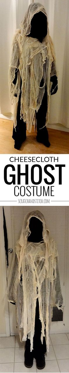 Easy handmade cheesecloth ghost costume by scratchandstitch.com