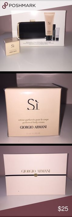 Sì Giorgio Armani 100 ml perfume with gift Giorgio Armani perfume with gift. Perfume is almost full but it is used and opened, I don't have the box for it. The gift is unopened comes in box with a clutch, hand cream, body cream (separate from box also unopened), eyes to kill mascara, and an eye cream. there are a couple holes on the front of the package if you're concerned about the box but it isn't damaged Giorgio Armani Makeup