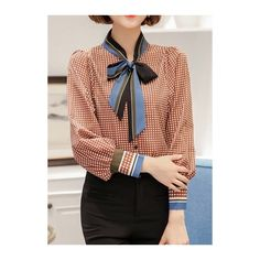 Rotita Tie Neck Long Sleeve Plaid Print Curved Blouse (£21) ❤ liked on Polyvore featuring tops, blouses, red, red print blouse, tie neck blouse, long sleeve tie neck blouse, long sleeve red blouse and red tie neck blouse