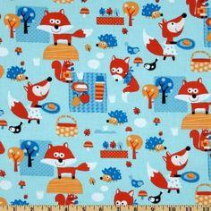 Woodland Picnic fabric - fox squirrel hedgehog bird picnicking in the forest - blue - YARD