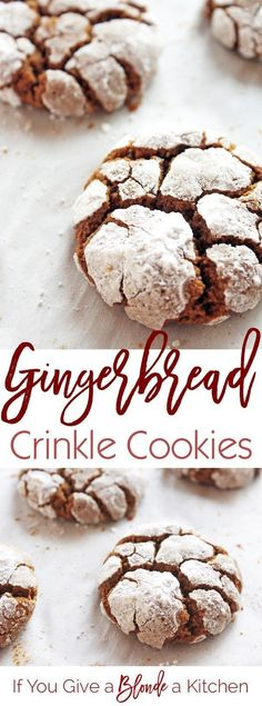 Crinkle cookies get a Christmas makeover. These cookies are made with gingerbread! Chewy, delicious and coated with confectioners' sugar, these Gingerbread Crinkle Cookies are the best! | Recipe by @If You Give a Blonde a Kitchen