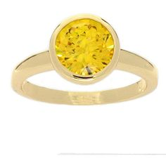NEXTE Jewelry 14-Karat--Gold Overlay High-Polish Cubic-Zirconia Solitaire Ring