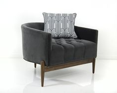 The Art Deco Chair in a lush Charcoal Grey Velvet is like no other chair we've created before. This sophisticated and unique seat sits staunchly over the solid walnut three leg base, and remains true