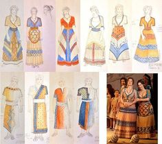 Johann Stegmeir for the opera IDOMENEO - Chorus Men and Women, sketches and photos These designs are based on the many Minoan frescos on the island of Crete. The colors and patterns are rich and bold, capturing the spirit of these ancient peoples.