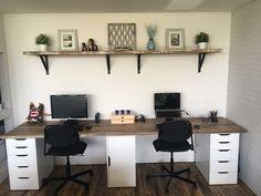 Study desk reclaimed timber - Home office design - Furniture Home Office Furniture Desk, Home Office Space, Home Office Design, Home Office Decor, Home Decor, Office Ideas, Bedroom Office, Kids Office, Design Desk