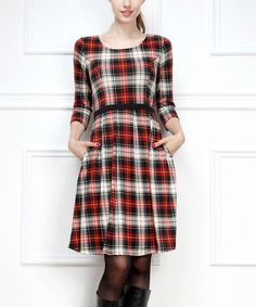 Look at this Red Plaid Three-Quarter Sleeve Dress on #zulily today!