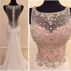 long Prom Dress,white Prom Dress,charming Prom Dress,beading prom dress,2016 party dress,PD102