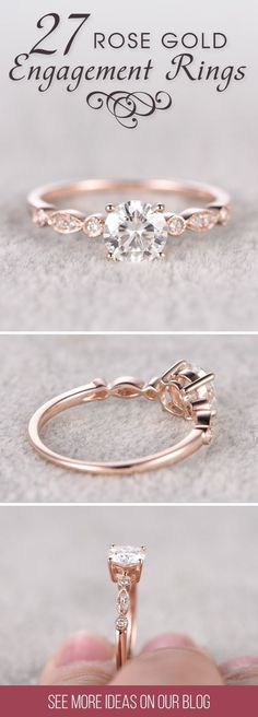 Engagement Rings : 27 Rose Gold Engagement Rings That Melt Your Heart ❤️ Rose gold diamond enga... TrendyIdeas.net | Your number one source for daily Trending Ideas