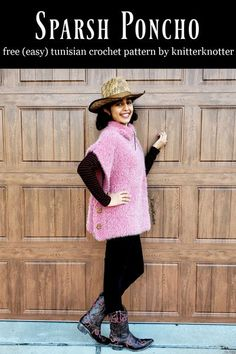 Do you want to make a garment with Tunisian crochet but would like to start with something simple? This beginner friendly poncho pattern is made up of 3 rectangles only! And, it is made with bulky weight yarn so it works up very quickly! I made mine with the Caron Latte Cakes and it is super warm and cozy - perfect for winter! #knitterknotter #crochetponcho #crochetgarment #tunisiancrochetponcho #easypattern #freepattern