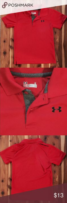 Under Armour Polo Shirt Size 4T LIKE NEW!!! No signs of wear!! Under Armour brand polo shirt Size 4T...red in color with black accents. NOTE: All of my items come from a clean, smoke-free, pet-free home. Under Armour Shirts & Tops Polos