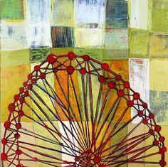 """Barbara Gilhooly  'Ferris wheel w/ Grid'  acrylic, ink on birch  16 x 16""""  www.barbaragilhooly.com  ferris-wheel-grid-gilhooly-lo by gilhooly studio, via Flickr"""