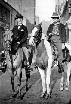 "Aimé Tschiffely - Long Rider Mancha and Gato ""Don Roberto"" Cunninghame Graham  Though his journey across South America made him famous, few people recall that Aimé Tschiffely also explored all of  England on horseback in the early 1930s. This rare photo depicts Aimé (right) mounted alongside his friend, Don Roberto Cunningham Graham. The Scotsman was a devoted horseman who rode in London's Hyde Park every day."