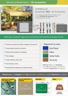 Tela Lona Capa Sombralux Quadrado [2x2] + Kit Instalação - R$ 415,00 em Mercado Livre