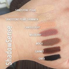 Senegence ShadowSense Swatches - Sandstone Pearl, Sandstone Pearl Shimmer, Candlelight, Mullberry, Moca, Garnet, Onyx