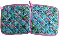"Amazon.com: Custom & Durable {9"" Inch Each} 2 Set Pack of Mid Size ""Non-Slip"" Pot Holders Made of Cotton for Carrying Hot Dishes w/ Handmade Quilted Tropical Flamingos & Flowers Style [Pink, Green, & Blue]: Home & Kitchen"