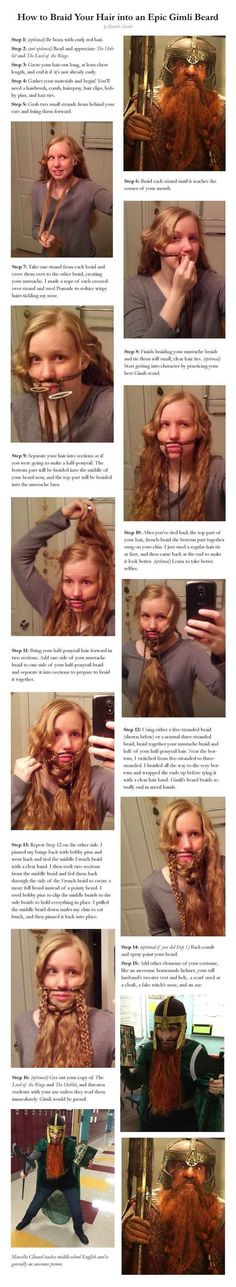 Gimli Beard. The only beauty tutorial you'll ever need. Omg this is hilarious!