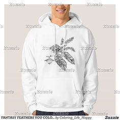 FANTASY FEATHERS YOU COLOR IT HOODIES, SWEATSHIRTS