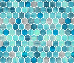 Blue Ink - Watercolor Hexagon Pattern fabric by micklyn on Spoonflower - custom fabric