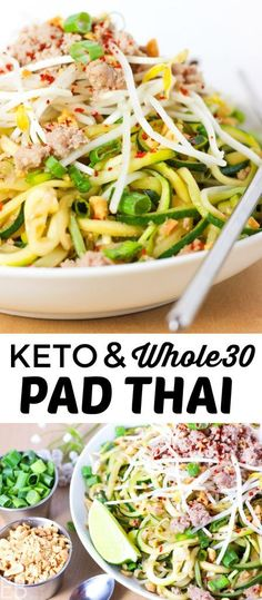 Keto Pad Thai is also Paleo GAPS and AIP! It's the freshest tasting Pad Thai ever with authentic ingredients and flavors. However you eat this is the Pad Thai for you! Primal Recipes, Real Food Recipes, Diet Recipes, Healthy Recipes, Paleo Food, Paleo Whole 30, Whole 30 Recipes, Clean Eating, Healthy Eating