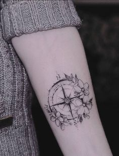 Small Compass Tattoo - InkStyleMag - Made by Diana Severinenko Tattoos . - Small Compass Tattoo – InkStyleMag – Made by Diana Severinenko Tattoo Artist in Kyiv, Ukraine R - Arrow Tattoos, Forearm Tattoos, New Tattoos, Body Art Tattoos, Small Tattoos, Girl Tattoos, Tattos, Small Compass Tattoo, Compass Tattoo Forearm