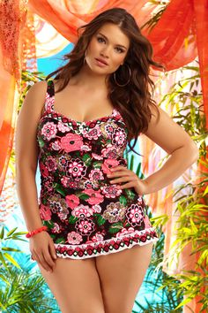 BECCA ETC plus size swimwear - just love this floral suit! It has great straps for the well-endowed :)