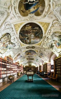 The Library in the Strahov Monastery in Prague, Czech Republic