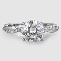 18K White Gold Petite Twisted Vine Diamond Ring // Set with a 1.28 Carat, Round, Super Ideal Cut, G Color, VS1 Clarity Diamond #BrilliantEarth