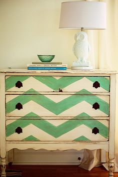 Chevron Painted Dresser #NashvilleRealEstate #NealClaytonRealtors #decorating #design #interior www.nealclayton.com