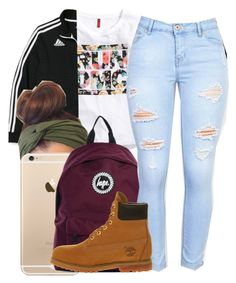 """52116"" by naenaecrazy ❤ liked on Polyvore featuring H&M, adidas, Hype and Timberland"