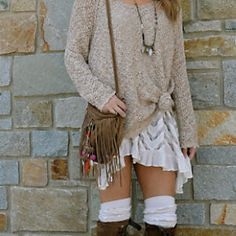 fpcristinenatick wears Free people's Lace Back Oversized Pullover--style # 27212943 with the voile-and-lace-trapeze-slip--Style # 22878656 with Free people's Ludlow Lace Boot By Miista--style # Fiddler Tall Sock--sku # Eclectic Mix Necklace--sku # Bohemian Fall Outfits, Hippie Outfits, Casual Fall Outfits, Cute Outfits, Winter Outfits, Boho Fashion, Autumn Fashion, Fashion Outfits, Fashion Ideas